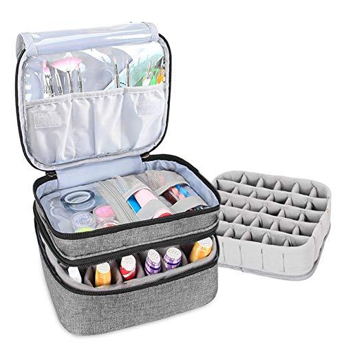 Organizador Pintauñas, Organizador Esmaltes Uñas,caja Almacenamiento Portátil 30 Botellas (máximo 15 Ml) Con Interior Acolchado,2 Compartimentos,separador Botellas, 3 Bolsillos Elásticos,25x22x15,5 Cm
