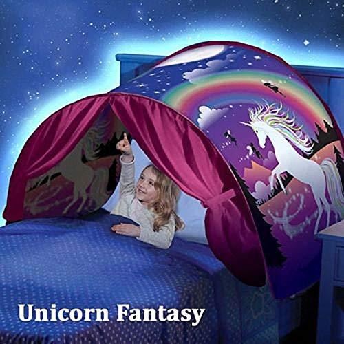 LJLYL Kinderbett Zelt, Traum Zelte Einhorn Dinosaurier, Faltbare Zelt Spielhaus Geeignet für Kinder Bett, Junge Mädchen,Unicorn