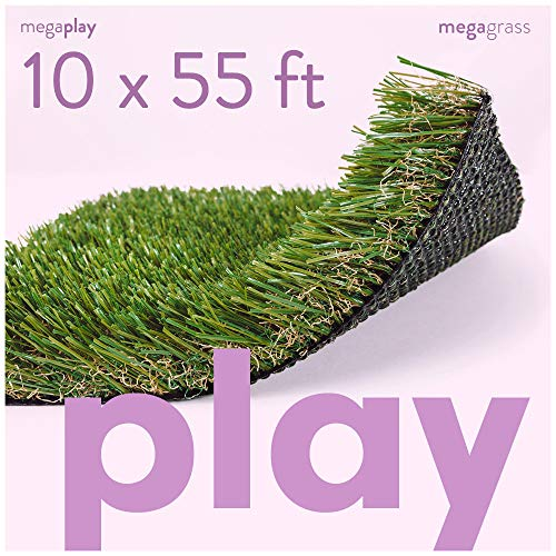 MEGAGRASS 10 x 55 Feet Premium Deluxe Artificial Grass for Playgrounds [Indoor or Outdoor Turf Rug Flooring and Thick Fake Grass Play Mat Pads for Kids, Pets, Dogs, Parks, Schools, and Daycares]
