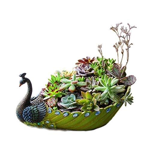 Calayu vetplantenpotten, handgemaakte hars, pauwvorm, cactusbloempotten, bloempotten, decoratie, voor tuin, woonkamer, kantoor