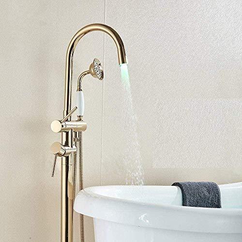 Grifo de bañera LED Grifo de bañera Baño con patas de garra Grifo de ducha de baño Grifo mezclador Caño giratorio Grifo montado en el piso Grúa Negro Bronce Dorado