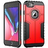 JETech Funda iPhone 8 y iPhone 7, Carcasa Protectora de Doble Capa Absorción de Choque, Rojo