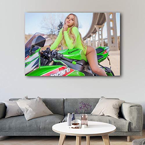 Chihie Blonde Heiße Mädchen Kawasaki Superbike Im Freien Wandkunst Poster Leinwand Gedruckt Kunstwerk Malerei für Wohnzimmer Decor 60cm x90cm Kein Rahmen