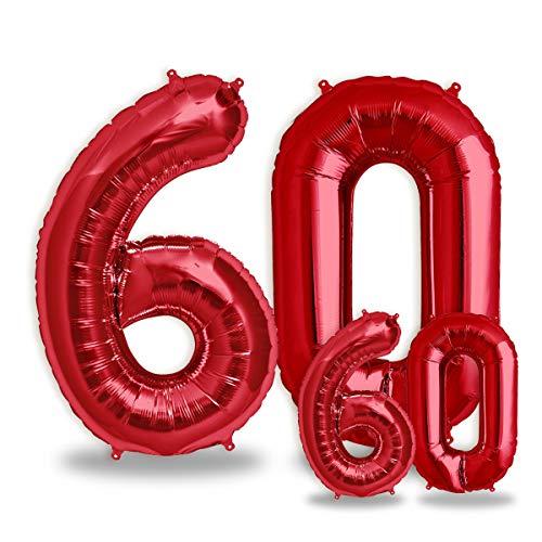 """FUNXGO® Folienballon Zahl in Rot 2 Stück – 40"""" + 16""""- Riesenzahl und kleine Ballons Folienballons für Luft und Helium als Geburtstag, Hochzeit , Jubiläum oder Fest , Party Dekoration (Rot[ 60 ])"""