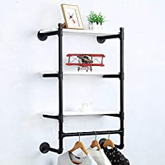 Industrial Pipe Clothing Rack Wall Mounted Real Wood Shelf,Pipe Shelving Floating Shelves Wall Shelf,Rustic Retail Garment Rack Display Rack Cloths Rack,SteamPunk Commercial Clothes Racks(3 Tier,24in) #3
