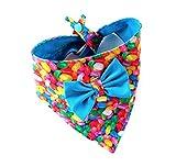 Adjustable Easter Cat Dog Bandana Blue Bow Jelly Beans Festive Holiday Petwear Neckwear