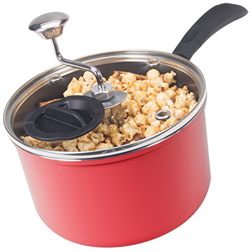 Discontinued by Manufacturer Zippy Pop Red Stovetop Popcorn Popper with Glass Lid, 4-Quart Capacity