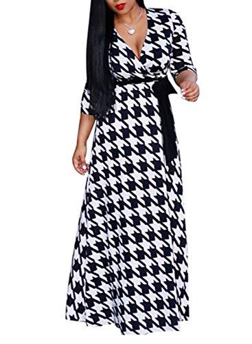 CORAFRITZ Vestido maxi de cuello en V profundo con estampado floral para mujer, manga 3/4, cintura alta, vestidos largos, talla grande