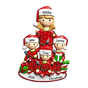 Personalized Single Mom with 3 Children Christmas Tree Ornament 2021 - Cute PJs Mother Hug Kid Cozy Santa Hat Home Holiday Foster Appreciate Engraved Tradition Day Year Gift - Free Customization