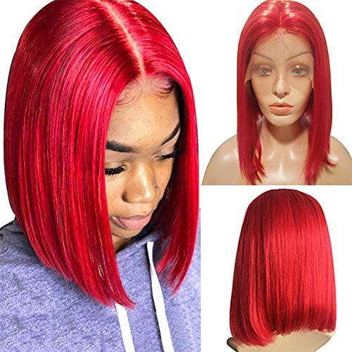 Red Bob wig Lace Front Human Hair Straight 8inch Bob Glueless Wig Pre Plucked 13x4 Swiss Lace Frontal Middle Part Short Cut Peruvian Virgin Hair Lace Wig 180% Density for Women(could be restyle)