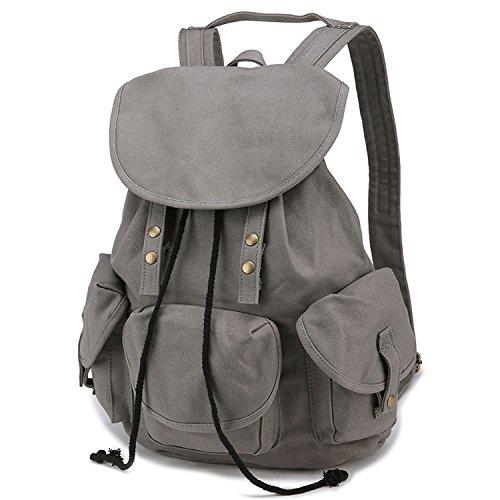 Owbb® Grau Leinwand Damen Mädchen Wander Trekking Rucksack / Kinder Schulrucksäcke