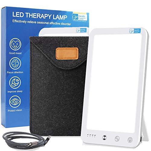 Lichttherapie SAD Lampe 10.000 Lux Tageslicht LED Tragbares Sonnenlicht Kompakt USB C Ultra Slim Inklusive Reiseetui Verbessert Stimmung & Schlaf 1 Touch Helligkeit & Timer-Funktion