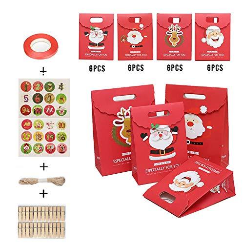 popchilli 24 stks kerstpapier snoepzak, adventskalender chocolade tas met 24 clips en jute touw vakkundig #6