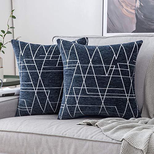 MIULEE Fundas de cojín para sofá Gamuza Sintética Almohada Caso de Diseño Geométrico Decorativas Fundas Cojines 45x45cm 18x18inch 2 Piezas Montaña - Azul