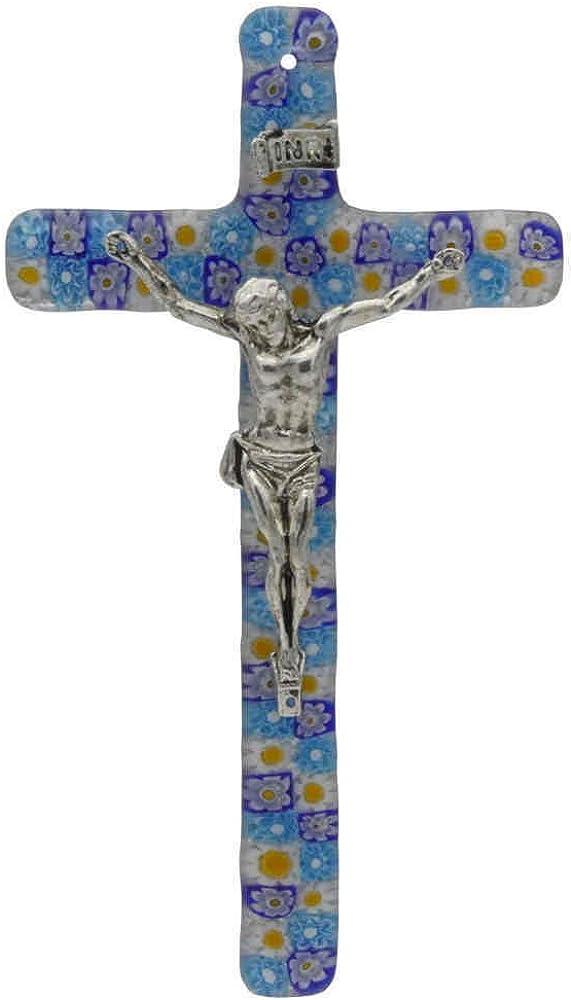 Crocifisso in vetro di murano, cristo in metallo color argento ro.C1486-120