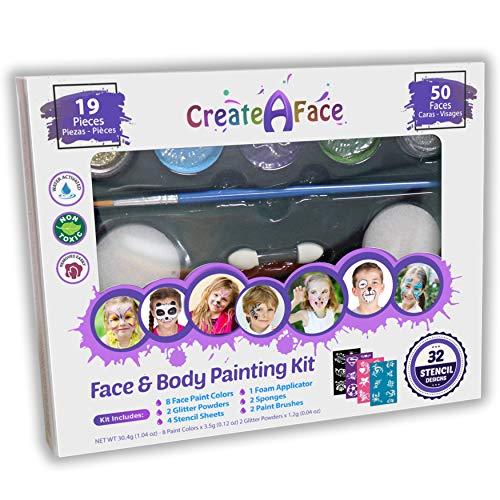 Set de Pintura Facial y Corporal + 32 Plantillas. Pintura no Tóxica y de Colores Vivos. Incluye: Plantillas Diseñadas Para Ti, Geles de Purpurina Brillante, Pinceles Versátiles, Esponjas y Aplicadores