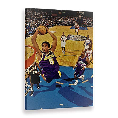WALKKING WAYS Decoration Home Décor for Living Room Posters and Prints Wall Pictures Canvas Painting Wall Art Kobe Bryant The Los Angeles Lakers (Framed,50x70 cm) image