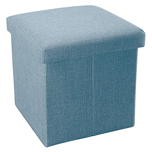 INTIRILIFE Faltbarer Sitzhocker 38x38x38 cm in Himmel BLAU - Sitzwürfel mit Stauraum und Deckel aus Stoff in Leinen Optik - Sitzcube Fußablage Aufbewahrungsbox Truhe Sitzbank