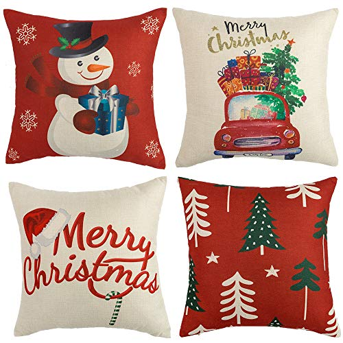 WLNUI Set of 4 Christmas Pillow Covers 18x18 Merry Xmas Snowman Christmas Tree Hat Holiday Decorative Throw Pillow Covers Square Cushion Case for Couch Sofa Indoor Outdoor Home Farmhouse Decor