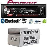 Autoradio Radio Pioneer DEH-S3000BT - Bluetooth   CD   MP3   USB   Android Einbauzubehör - Einbauset für Mercedes A- JUST SOUND best choice for caraudio