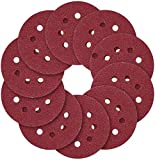 YINGDIAO Red Sandpaper Set - 5-Inch 8-Hole Sanding Discs 5 Different Grades Including 40, 60, 80, 120, 240, Grits for Random Orbital Sander-100Pack