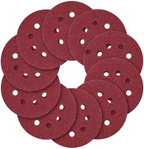 Yingdiao - Juego de lijas de papel de lija (5 pulgadas, 8 agujeros, 5 diferentes grados, incluye 40, 60, 80, 120, 240, grano para lijadora orbital aleatoria, 100 unidades)