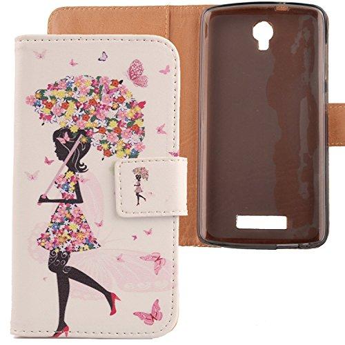 LANKASHI Umbrella Girl Design PU Flip Billetera Funda De Carcasa Cuero Case Protective Cover Piel para ZTE Blade L5 / L5 Plus 5
