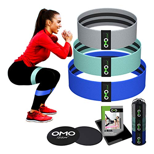 Fabric Exercise Bands + Core Sliders | Fabric Bands Resistance - Glute Loop | Fabric Resistance Bands Set of 3 + Gliding Discs + Mesh Bag + Ebook | Cloth Bands Workout