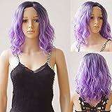 16' corto Bob onda U parte Encaje frente Pelucas Ombre negro mezcla púrpura resistente al calor sintético ondulado peluca para las mujeres