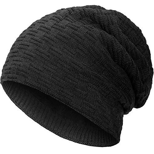 Compagno warm gefütterte Wintermütze Beanie Strickmütze Hat Herren Damen Mütze Haube Einheitsgröße, Farbe:Schwarz