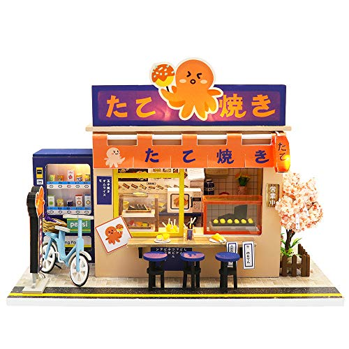 Spilay DIY Dollhouse Miniature with Wooden Furniture,Handmade Japanese Style Home Craft Model Mini Kit with Dust Cover&LED,1:24 Scale Creative Doll House Toys for Adult Teenager Gift(Star Takoyaki)