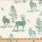 Hoffman 0668252 Bali Batik Deer Fabric Stoff, Blau