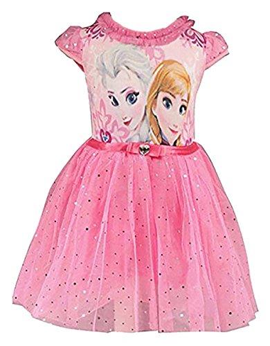 Eyekepper Kind-Maedchen-Karikatur ELSA Prinzessin Cosplay Gitter-Blase Kleid, Rosa Rot, 110cm