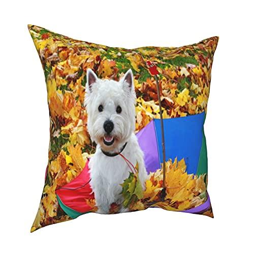 Throw Pillowcase Fundas de Almohada 45x45CM West Highland Terrier. Perro Blanco con Paraguas En Otoño. Decoración para el hogar Decoración Oficina Sofá Holiday Bar Café Boda Coche
