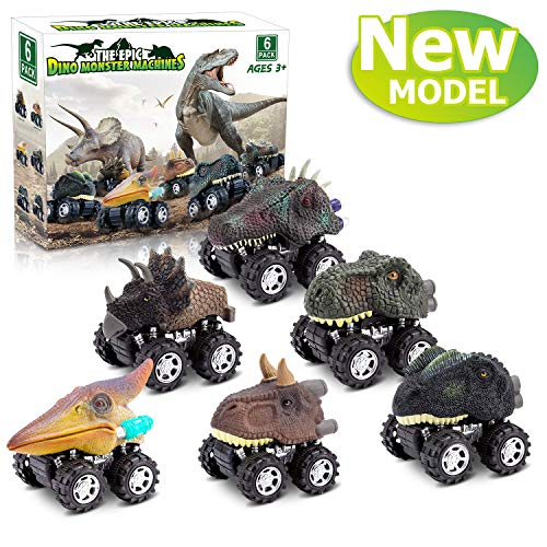Dinosaur Toys for 3 Year Old Boys, Pull Back Dinosaur Toys for 5 Year Old Boy 6 Pack Set Car Toys for 4 Year Old Boys Birthday Gift Toys for 2,3,4,5,6 Year Old Boys