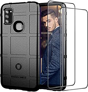 JAMIE Phone Case with 2 Screen Protectors for Samsung Galaxy M51, Slim Rubber Silicone Cover Military Cases Shockproof Arm...