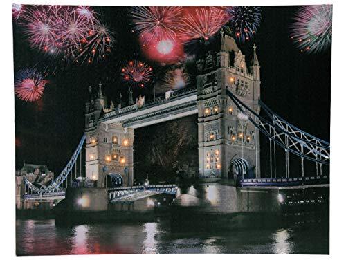 LED Wandbild 50x40 cm mit ca. 80 LEDs - Tower Bridge London - Leinwand beleuchtet mit normalen und Farbwechsel LEDs