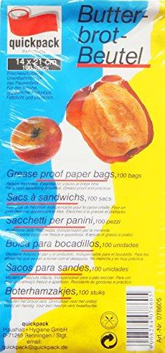 100 Stück Butterbrot - Beutel / Frühstückstüte (Fettdicht + Aromaschützend / 14 x 21 cm)
