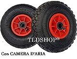 Cerchione in plastica TLDSHOP® - RUOTA PER CARRELLI con cuscinetto - GONFIABILE (nera e rossa) o ANTI FORO (gialla e rossa) - 260mm - RICAMBIO per CARRELLI o CARIOLE (2 PEZZI, GONFIABILE)