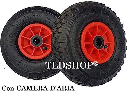 TLDSHOP - RUOTA PER CARRELLI con cuscinetto - GONFIABILE (nera e rossa) o ANTI FORO (gialla e rossa) - 260mm - RICAMBIO per CARRELLI o CARIOLE (2 PEZZI, GONFIABILE)