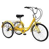 UFLIZOGH Triciclo para adultos con cesta, rueda de 24 pulgadas, marco de aleación, 3 ruedas, para adultos y personas mayores (amarillo)