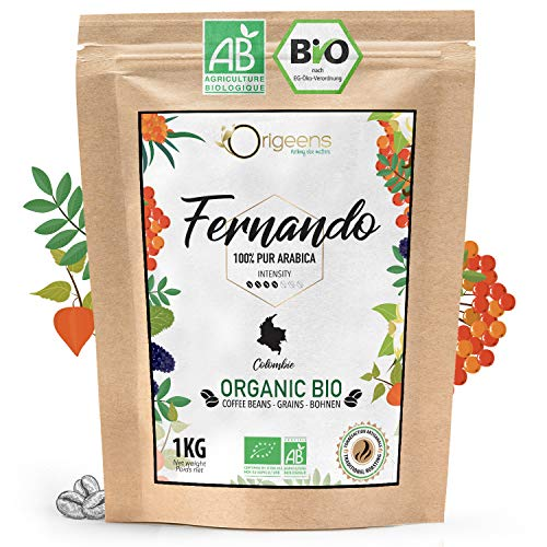 ORIGEENS CAFE GRAIN BIO 1kg | Café en Grain Arabica | Fernando - Single Origin Colombie | Torréfaction Artisanale