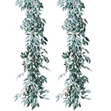 NANSSY 2 Pack 13 Feet Artificial Gray Greenery Vines Garland Faux Silk Willow Leaves Vines Wreath for Wedding Decor, Party, Home Decor, Crowns Wreath (Gray Willow Leaves)