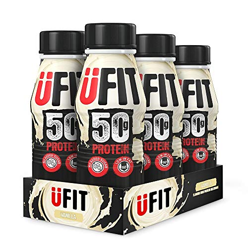 UFIT High 50g Protein Shake, No Added Sugar, Low Fat – Vanilla Flavour Ready To Drink (Pack of 6 x 500ml)