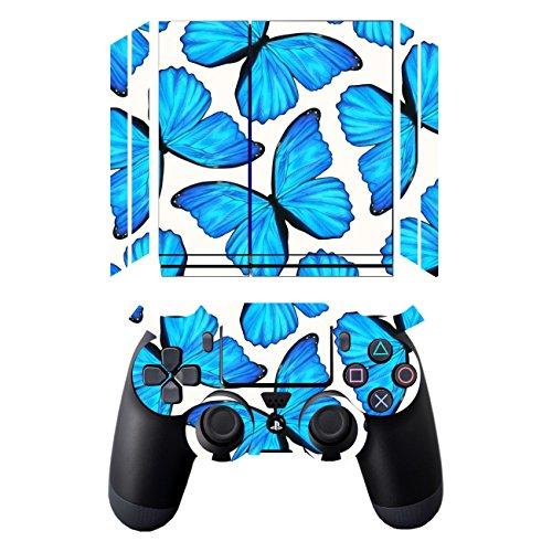 Disagu SF-sdi-3645_1272 Displayschutzfolie für Sony PS4 liegend mit Controller Design - Motiv Blaue Schmetterlinge groß Klar