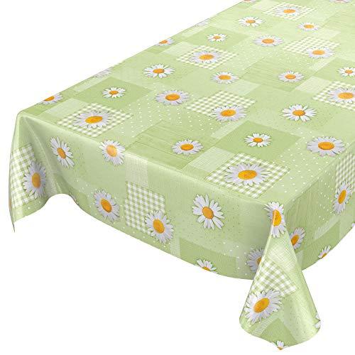 ANRO Wachstuchtischdecke Wachstuch Wachstischdecke Tischdecke Kamille Patchwork Grün 100x140cm