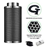 G HYDRO 6 Inch Air Carbon Filter Upgraded Hexagonal Hole with 1200+ RC48 Activated Charcoal Prefilter Included Odor Control Scrubber for Grow Tent Indoor Plants Inline Fan Reversible Flange 445 CFM