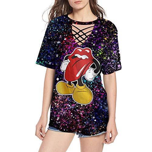 SLYZ Damas Europeas Y Americanas Primavera Y Verano Vendaje Camiseta Personalidad De La Moda Todo Fósforo Camisa Femenina De Manga Corta