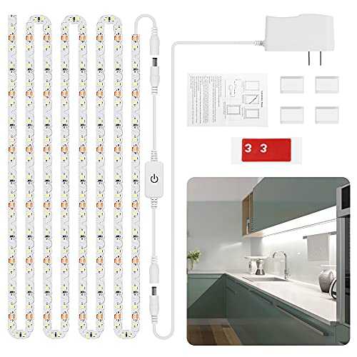 13Ft Flexible White LED Strip Lights, Led Under Cabinet Lighting Kit, Tape Lights for Kitchen Cabinets Closet Shelf Desk, Easy to Fold Corners, 6000K Dimmable Under-Counter Light Fixture