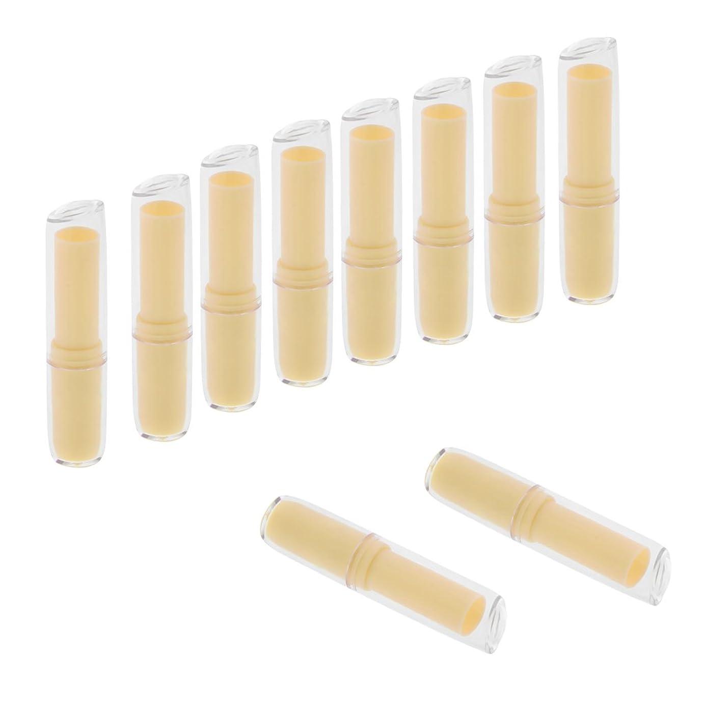 連鎖密免疫Fenteer 10個セット リップスティックチューブ 空チューブ リップバーム 口紅 12.1mm 金型 DIY 全6色  - 黄